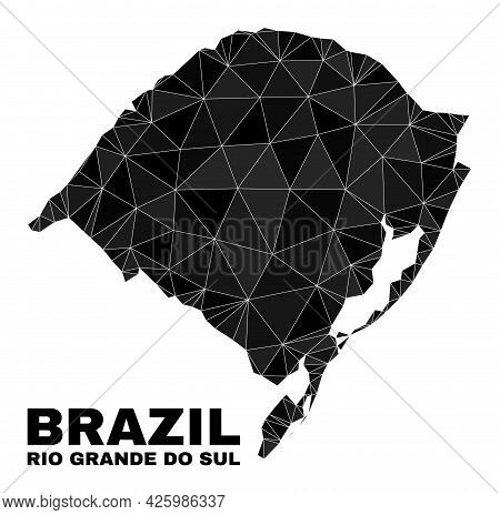 Low-poly Rio Grande Do Sul State Map. Polygonal Rio Grande Do Sul State Map Vector Filled From Rando
