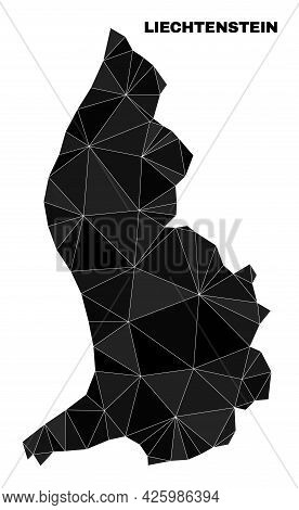 Low-poly Liechtenstein Map. Polygonal Liechtenstein Map Vector Is Filled Of Chaotic Triangles. Trian