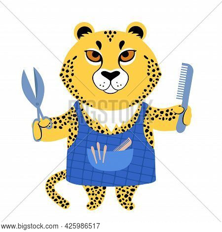 Vector Illustration Of A Cute Cartoon Cheetah In An Apron With Scisors And Comb