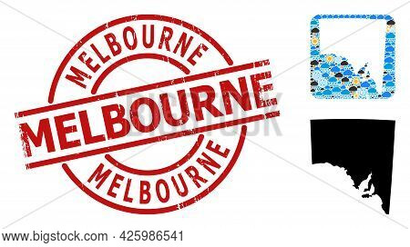 Climate Mosaic Map Of South Australia, And Rubber Red Round Melbourne Stamp Seal. Geographic Vector