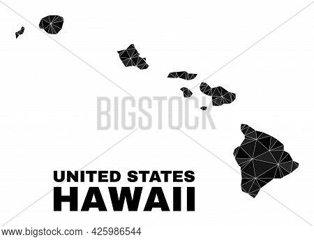 Lowpoly Hawaii State Map. Polygonal Hawaii State Map Vector Filled With Chaotic Triangles. Triangula