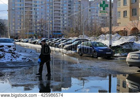 Balashikha, Russia - March 19, 2021. Spring In The City. Courtyard Of The Residential Building Overf