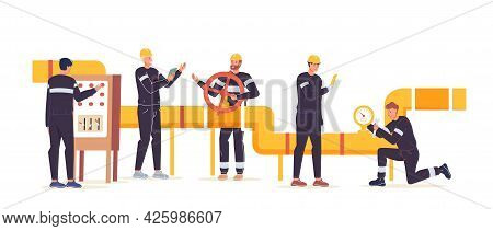 Vector Cartoon Flat Industrial Worker Characters At Gas, Petroleum Production Work.engineer Workers