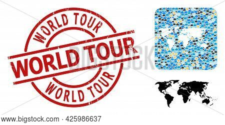 Weather Collage Map Of World, And Scratched Red Round World Tour Stamp. Geographic Vector Collage Ma