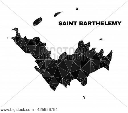 Lowpoly Saint Barthelemy Map. Polygonal Saint Barthelemy Map Vector Constructed With Chaotic Triangl