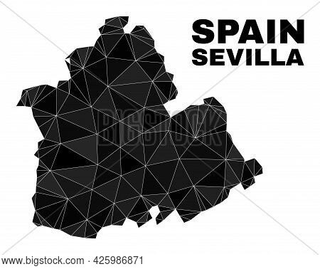 Low-poly Sevilla Province Map. Polygonal Sevilla Province Map Vector Combined Of Chaotic Triangles.