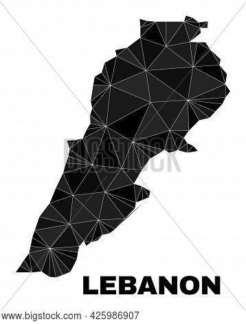 Low-poly Lebanon Map. Polygonal Lebanon Map Vector Is Filled Of Randomized Triangles. Triangulated L
