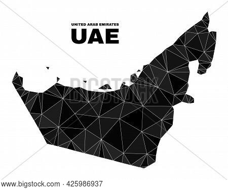 Low-poly United Arab Emirates Map. Polygonal United Arab Emirates Map Vector Designed From Random Tr