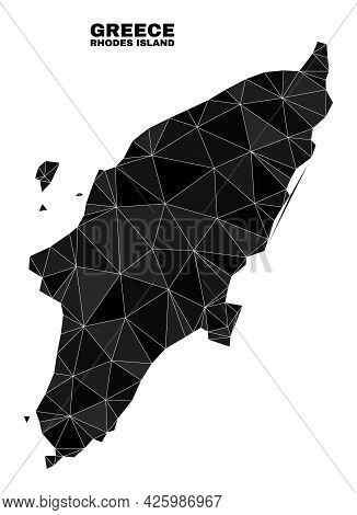 Low-poly Rhodes Island Map. Polygonal Rhodes Island Map Vector Designed Of Scattered Triangles. Tria