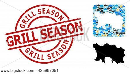 Climate Collage Map Of Jersey Island, And Rubber Red Round Grill Season Stamp. Geographic Vector Col