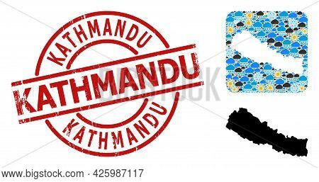 Weather Collage Map Of Nepal, And Textured Red Round Kathmandu Stamp Seal. Geographic Vector Collage