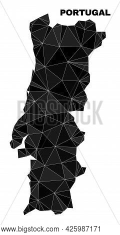 Lowpoly Portugal Map. Polygonal Portugal Map Vector Constructed With Random Triangles. Triangulated
