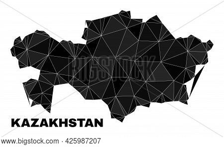 Lowpoly Kazakhstan Map. Polygonal Kazakhstan Map Vector Is Combined With Scattered Triangles. Triang