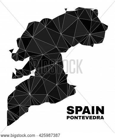 Low-poly Pontevedra Province Map. Polygonal Pontevedra Province Map Vector Is Designed With Chaotic
