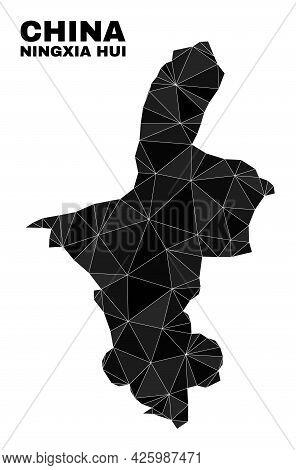 Lowpoly Ningxia Hui Region Map. Polygonal Ningxia Hui Region Map Vector Filled With Randomized Trian