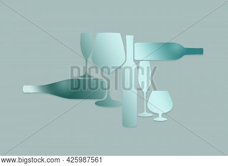 Liquor Bottles And Glassware Are Seen Silhouetted In Color In This Background Illustration.  This Is