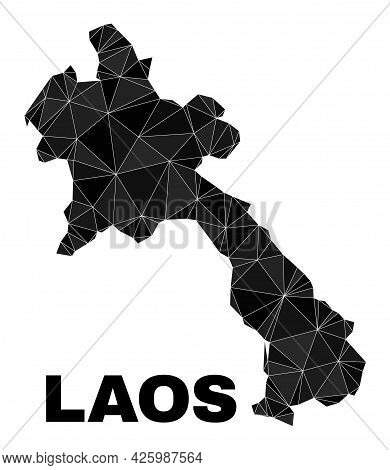 Lowpoly Laos Map. Polygonal Laos Map Vector Is Filled With Chaotic Triangles. Triangulated Laos Map
