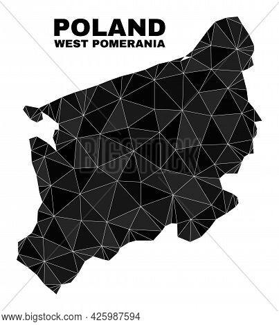 Low-poly West Pomeranian Voivodeship Map. Polygonal West Pomeranian Voivodeship Map Vector Combined