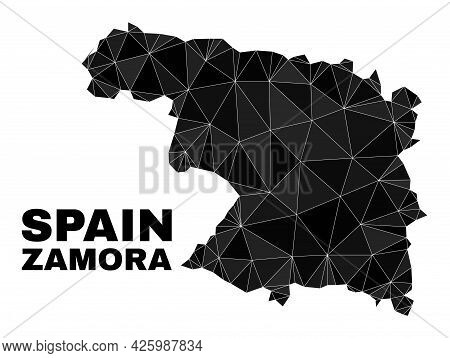 Lowpoly Zamora Province Map. Polygonal Zamora Province Map Vector Is Combined With Scattered Triangl