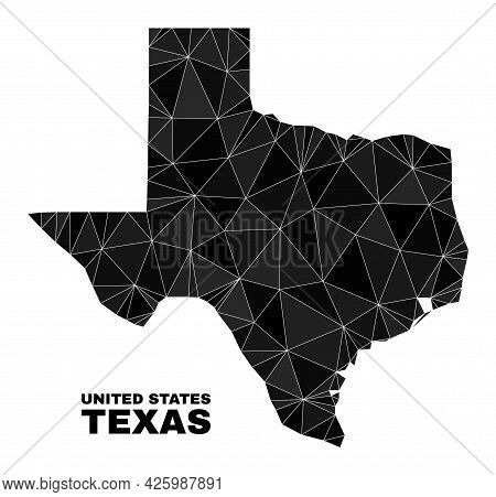 Low-poly Texas State Map. Polygonal Texas State Map Vector Designed With Scattered Triangles. Triang