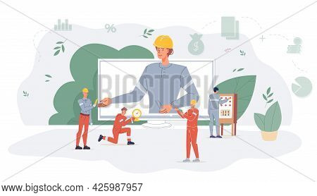 Vector Cartoon Flat Industrial Worker Characters At Oil Gas Production Work.boss On Computer Screen