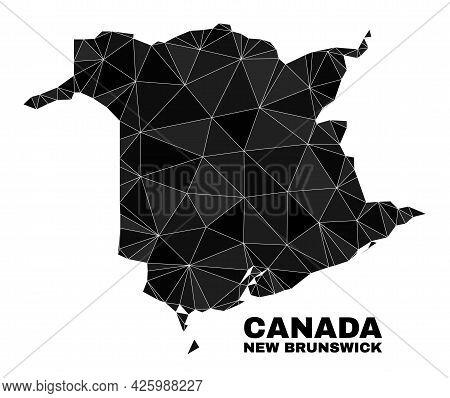 Lowpoly New Brunswick Province Map. Polygonal New Brunswick Province Map Vector Combined With Chaoti
