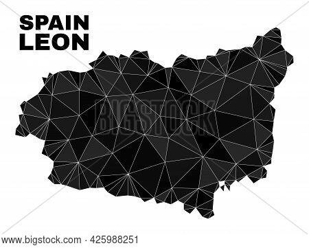 Lowpoly Leon Province Map. Polygonal Leon Province Map Vector Is Constructed With Randomized Triangl