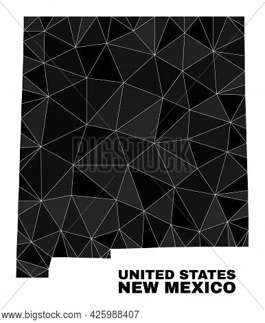 Low-poly New Mexico State Map. Polygonal New Mexico State Map Vector Is Designed From Randomized Tri