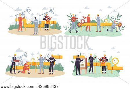 Vector Cartoon Flat Industrial Worker Characters At Gas, Petroleum Production Work Set.engineer Work