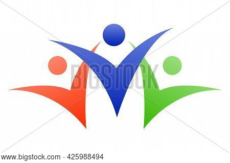 Abstract People Icon. A Symbol Of Unity, Unity And Peace. Isolated Color Image In Three Silhouettes.