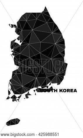 Lowpoly South Korea Map. Polygonal South Korea Map Vector Designed Of Random Triangles. Triangulated