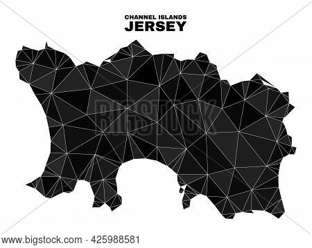 Low-poly Jersey Island Map. Polygonal Jersey Island Map Vector Designed From Random Triangles. Trian