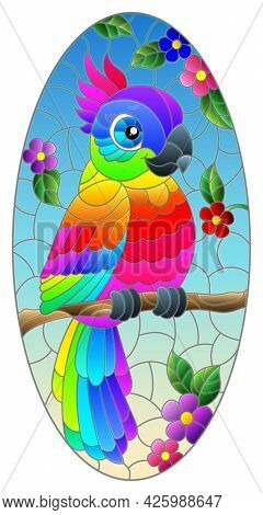 Illustration In Stained Glass Style With A Bright Cartoon Parrot On A Background Of Flowers And Blue