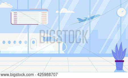 Empty Airport Terminal Lounge With Airplane On Background Interior Waiting Hall Departure Lounge Mod
