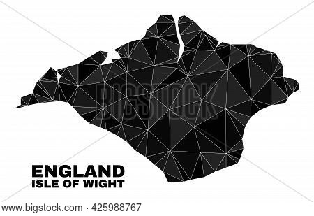Low-poly Isle Of Wight Map. Polygonal Isle Of Wight Map Vector Is Combined With Random Triangles. Tr