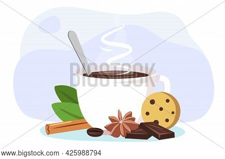 White Coffee Mug With Steam A Bar Of Chocolate, Cinnamon, Cloves And A Piece Of Cookies Vector Illus