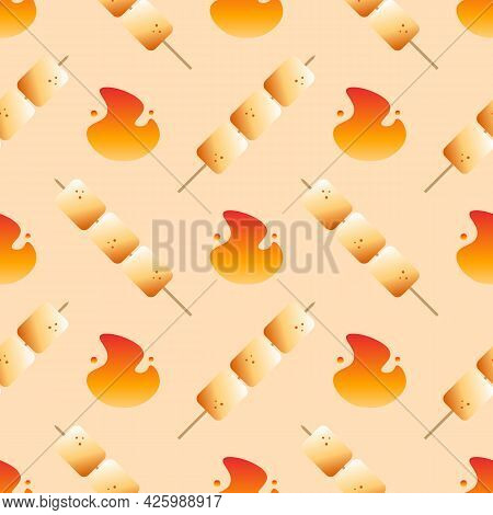 Golden Brown Toasted Marshmallow On Sticks, Skewers And Fire Icons, Symbols Vector Seamless Pattern