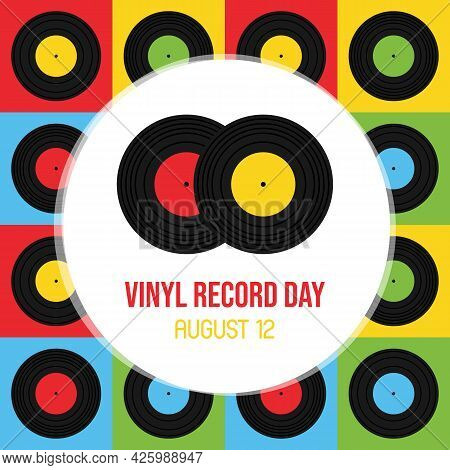 National Vinyl Record Day Vector Cartoon Greeting Card, Illustration With Couple Of Vinyl Records An