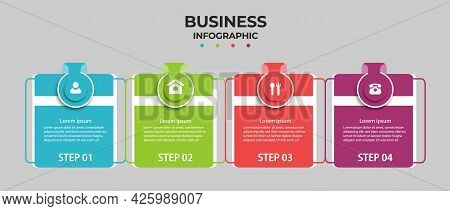 Business Info Graphics Template. Time Line With 4 Steps, Options. Can Be Used For Work Flow Diagram,