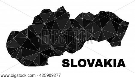 Lowpoly Slovakia Map. Polygonal Slovakia Map Vector Is Designed Of Scattered Triangles. Triangulated