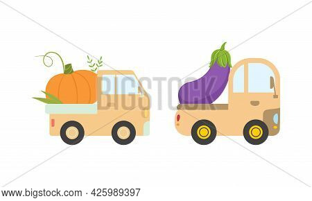 Cute Cars Delivering Vegetables, Small Trucks Shipping Eggplant And Pumpkin Fresh Ripe Vegetables Ca