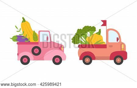 Cute Cars Delivering Vegetables, Small Trucks Shipping Zucchini, Eggplant, Broccoli Fresh Vegetables