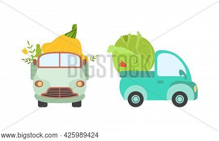 Cute Cars Delivering Vegetables, Small Trucks Shipping Cabbage And Squash Fresh Vegetables Cartoon V
