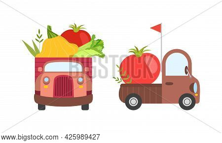 Cute Cars Delivering Vegetables, Small Trucks Shipping Squash, Tomato, Chinese Cabbage Fresh Vegetab