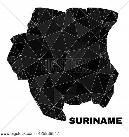 Low-poly Suriname Map. Polygonal Suriname Map Vector Filled Of Randomized Triangles. Triangulated Su