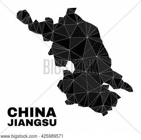 Lowpoly Jiangsu Province Map. Polygonal Jiangsu Province Map Vector Is Filled From Random Triangles.