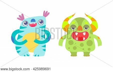 Cute Baby Monsters Set, Happy Funny Colorful Monsters Cartoon Vector Illustration