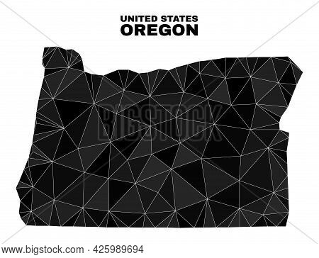Low-poly Oregon State Map. Polygonal Oregon State Map Vector Is Combined Of Scattered Triangles. Tri