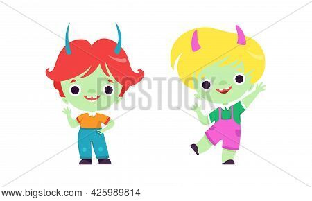 Cute Troll Characters With Different Hair Color Set, Funny Boys Fantasy Fairytale Creatures Cartoon