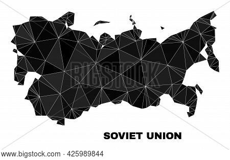 Low-poly Soviet Union Map. Polygonal Soviet Union Map Vector Is Filled Of Random Triangles. Triangul